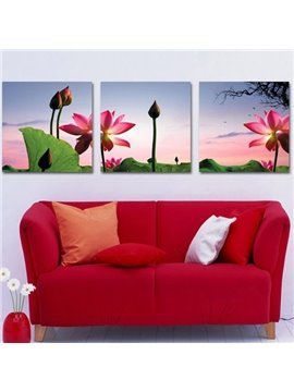 New Arrival Beautiful Lotus Flower and Green Leaves Print 3-piece Cross Film Wall Art Prints