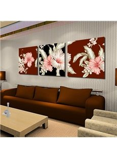 Luxurious Pink and Beige Lily Flowers Print 3-piece Cross Film Wall Art Prints
