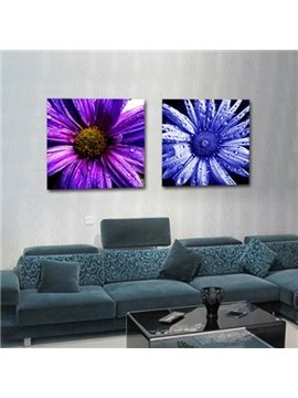 New Arrival Lovely Daisy Flowers and Water-drops Print 2-piece Cross Film Wall Art Prints