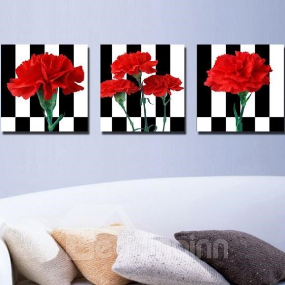 New Arrival Beautiful Red Flowers Print 3-piece Cross Film Wall Art Prints