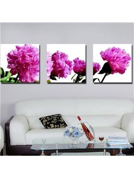 New Arrival Romantic Purple Flowers Print 3-piece Cross Film Wall Art Prints