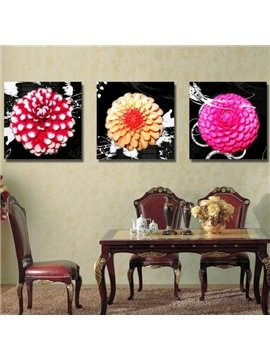 Lovely Bright Color Flowers Print 3-piece Cross Film Wall Art Prints
