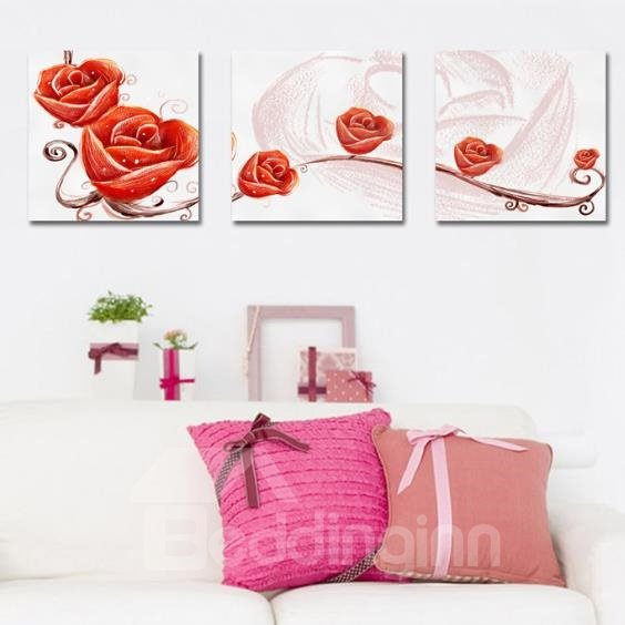 New Arrival Beautiful Painting of Red Roses Print 3-piece Cross Film Wall Art Prints