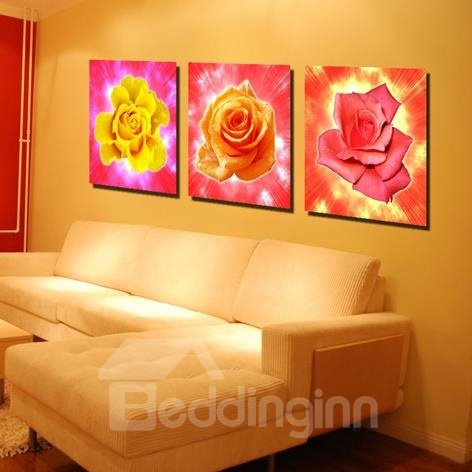 New Arrival Lovely Colorful Roses Print 3-piece Cross Film Wall Art Prints