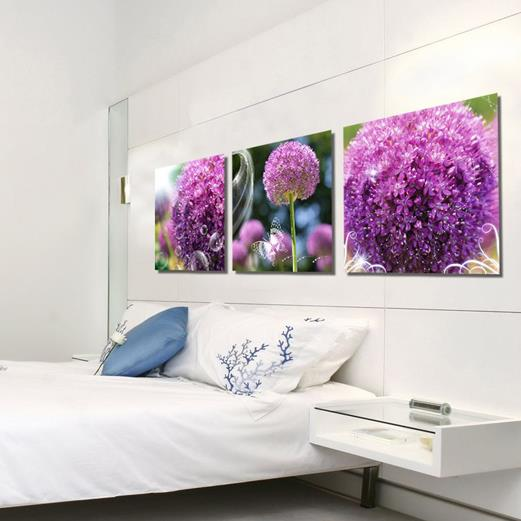 New Arrival Lovely Purple Hydrangea Flowers Print 3-piece Cross Film Wall Art Prints