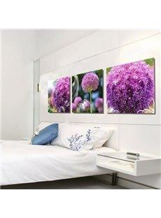 New Arrival Lovely Purple Hydrangea Flowers Print 3-piece Cross Film Wall Art Prints