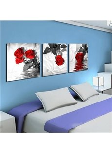 New Arrival Romantic Red Roses Over the Water Print 3-piece Cross Film Wall Art Prints
