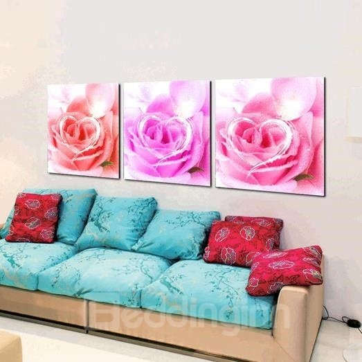 New Arrival Beautiful Love Roses Print 3-piece Cross Film Wall Art Prints