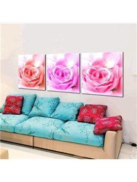 New Arrival Beautiful Love Roses Print 3-piece Cross Film Wall Art Prints