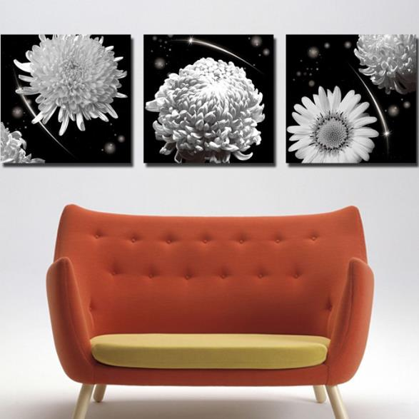 New Arrival Elegant Chrysanthemum Flowers Print 3-piece Cross Film Wall Art Prints