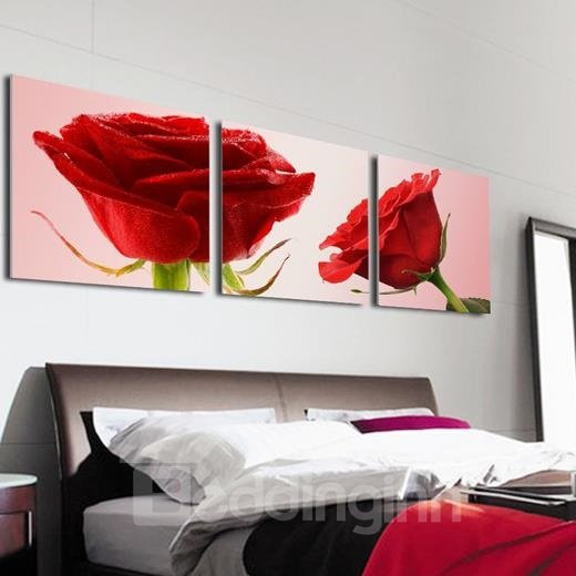 New Arrival Stunning Red Roses Print 3-piece Cross Film Wall Art Prints