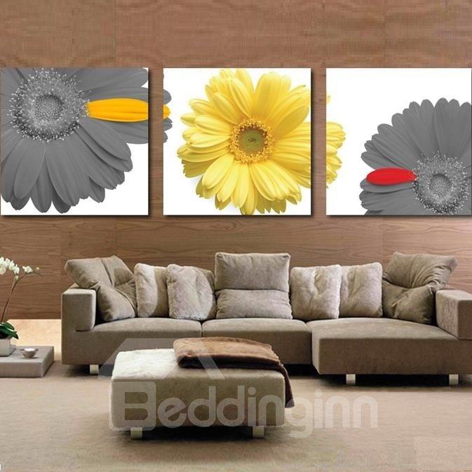 New Arrival Elegant Daisy Flowers Print 3-piece Cross Film Wall Art Prints