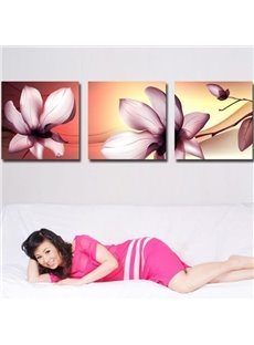 New Arrival Elegant Pink Flowers Print 3-piece Cross Film Wall Art Prints