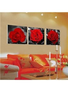 New Arrival Beautiful Red Roses Print 3-piece Cross Film Wall Art Prints