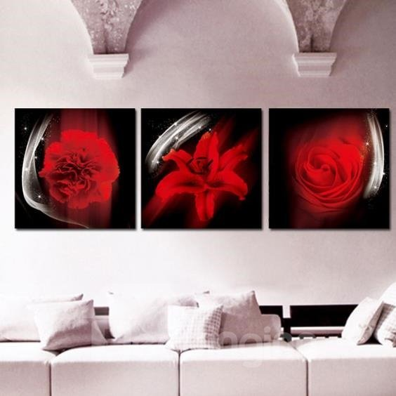 New Arrival Lovely Red Rose and Lily Print 3-piece Cross Film Wall Art Prints