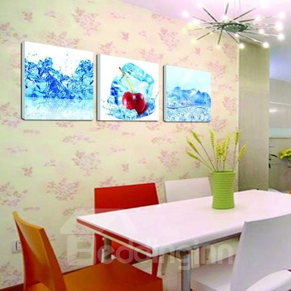 New Arrival Lovely Cherry in Ice Print 3-piece Cross Film Wall Art Prints 10884297