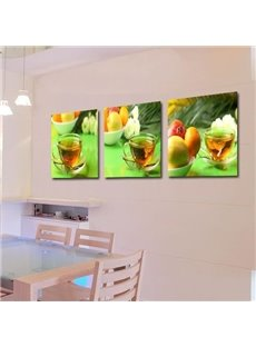 New Arrival Lovely Scented Tea and Fruits Print 3-piece Cross Film Wall Art Prints