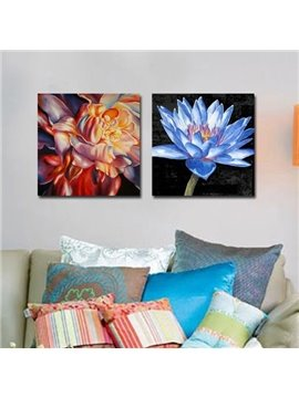 New Arrival Oil-painting Style Beautiful Colorful Flowers Print 2-piece Cross Film Wall Art Prints
