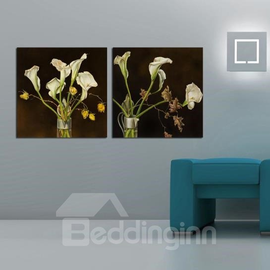 New Arrival Elegant White Calla and Withering Flowers Print 2-piece Cross Film Wall Art Prints 10884593