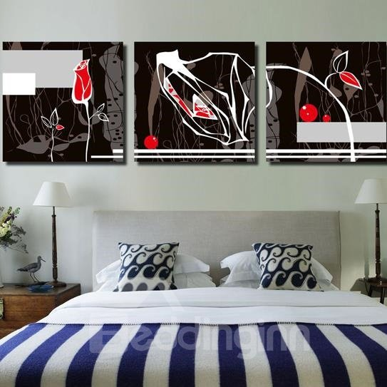 New Arrival Lovely Abstract Modern Roses Print 3-piece Cross Film Wall Art Prints