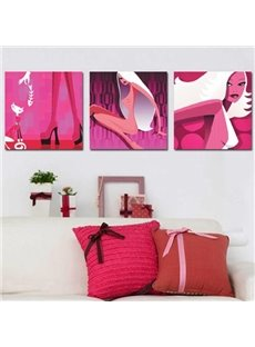 New Arrival Beautiful Modern Lady Print 3-piece Cross Film Wall Art Prints