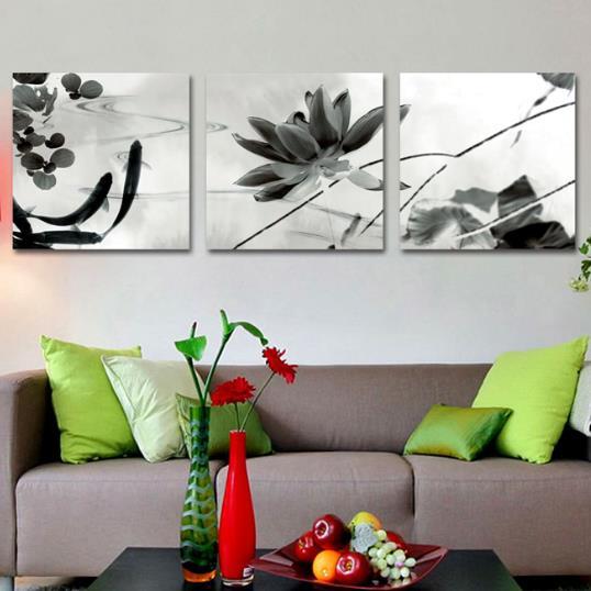 New Arrival Elegant Lotus and Goldfish Print 3-piece Cross Film Wall Art Prints