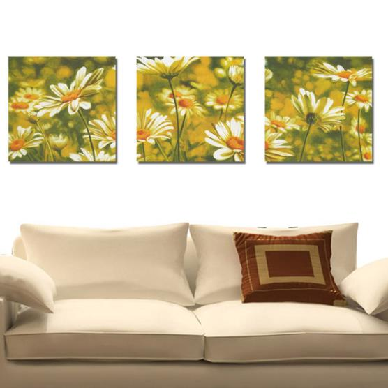New Arrival Beautiful Golden Daisy Flowers Print 3-piece Cross Film Wall Art Prints