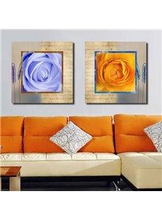 New Arrival Beautiful Roses Beige Borders Print 2-piece Cross Film Wall Art Prints