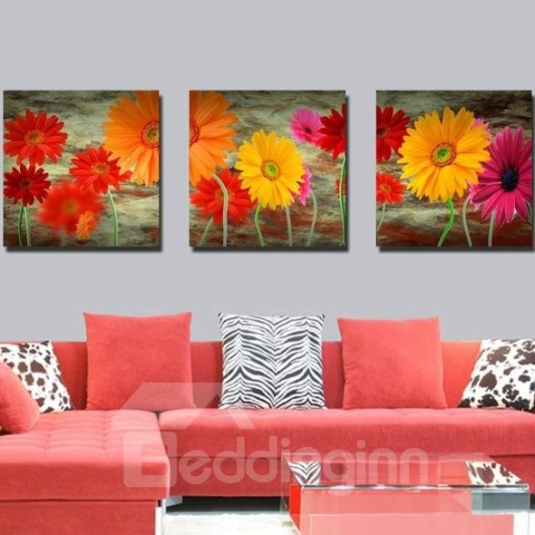 New Arrival Oil-painting Style Lovely Daisy Flowers Print 3-piece Cross Film Wall Art Prints