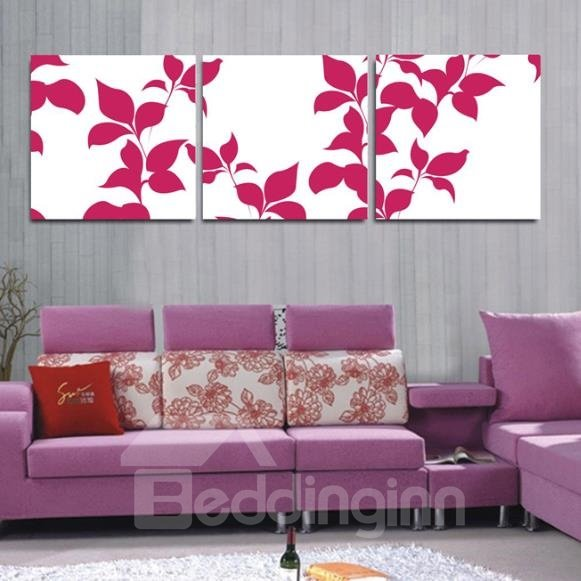 New Arrival Lovely Pink Leaves Print 3-piece Cross Film Wall Art Prints
