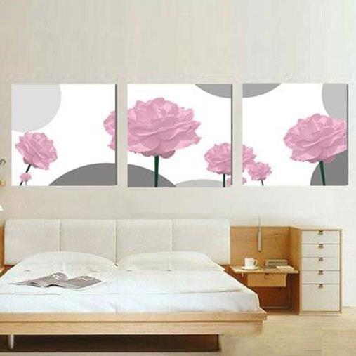 New Arrival Elegant Pink Roses Print 3-piece Cross Film Wall Art Prints