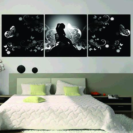 New Arrival Elegant Lady and Floral Patterns Print 3-piece Cross Film Wall Art Prints