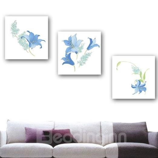 New Arrival Lovely Blue Lily Flowers Print 3-piece Cross Film Wall Art Prints