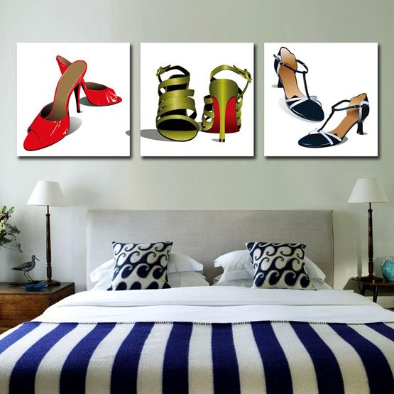 New Arrival Lovely Lady High Heels Print 3-piece Cross Film Wall Art Prints