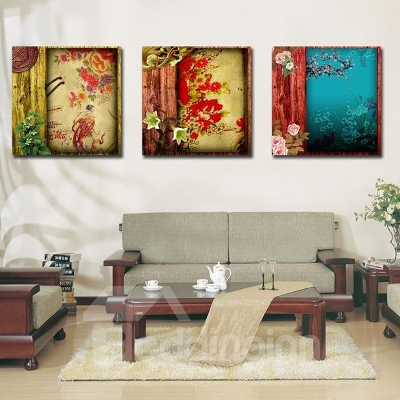 New Arrival Luxurious Colorful Flowers Print 3-piece Cross Film Wall Art Prints