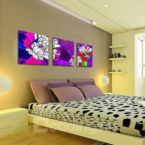 New Arrival Stunning Colorful Flowers Painting Print 3-piece Cross Film Wall Art Prints