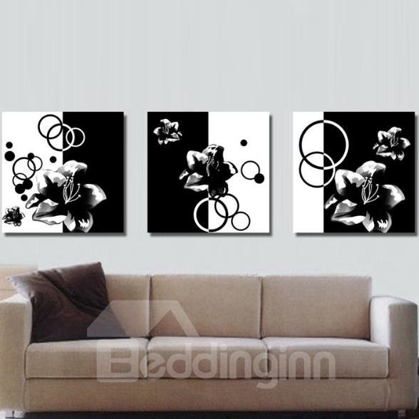 New Arrival Elegant Black and White Flowers Print 3-piece Cross Film Wall Art Prints 10884855