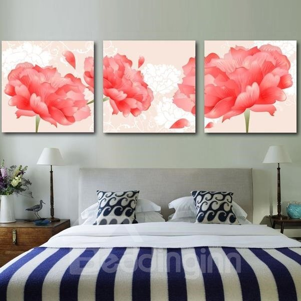 New Arrival Amazing Red Peony Flowers Print 3-piece Cross Film Wall Art Prints