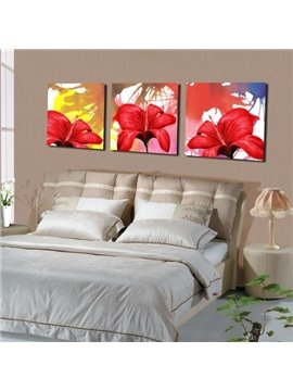New Arrival Amazing Red Lily Flowers Print 3-piece Cross Film Wall Art Prints