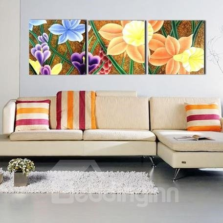 New Arrival Modern Pretty Colorful Flowers Print 3-piece Cross Film Wall Art Prints