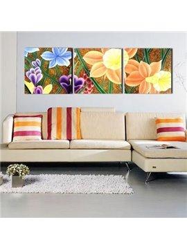 New Arrival Modern Pretty Colorful Flowers Print 3-piece Cross Film Wall Art Prints