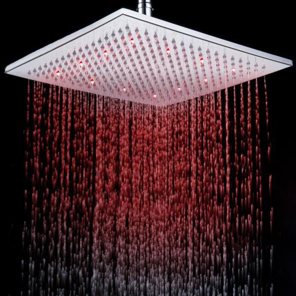12 Inches All Copper LED Color-changing Shower Head Faucet