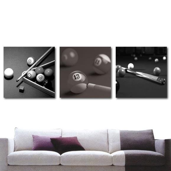 New Arrival Elegant Grey Billiards and Cue Print 3-piece Cross Film Wall Art Prints