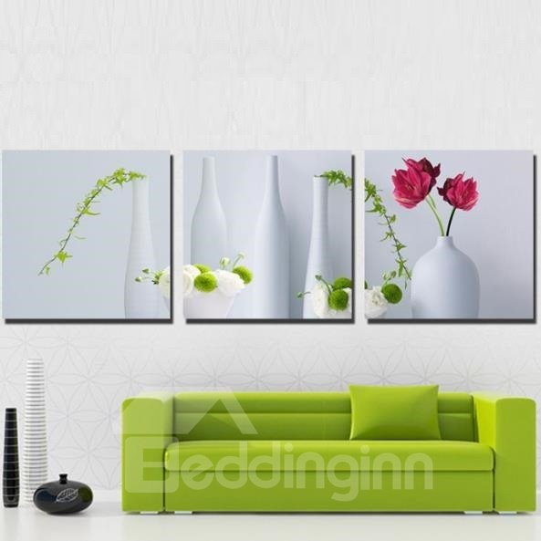 New Arrival Lovely Flowers in White Vase Print 3-piece Cross Film Wall Art Prints