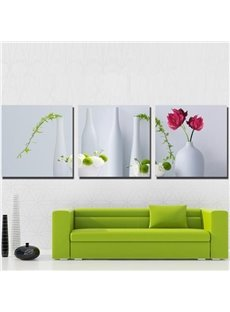 New Arrival Lovely Flowers in White Vase Print 3-piece Cross Film Wall Art Prints