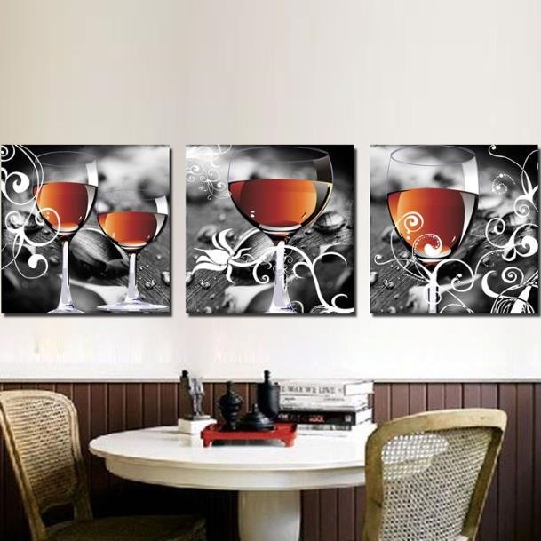 New Arrival Lovely Wine in Glass Print 3-piece Cross Film Wall Art Prints