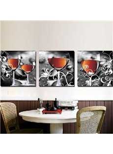 New Arrival Lovely Wine in Glass Print 3-piece Cross Film Wall Art Prints