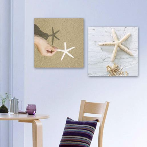 New Arrival Lovely White Starfishes on Beach Print 2-piece White Cross Film Wall Art Prints