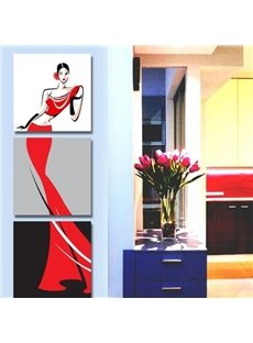Graceful Lady in Red Dress Print 3-piece Cross Film Wall Art Prints