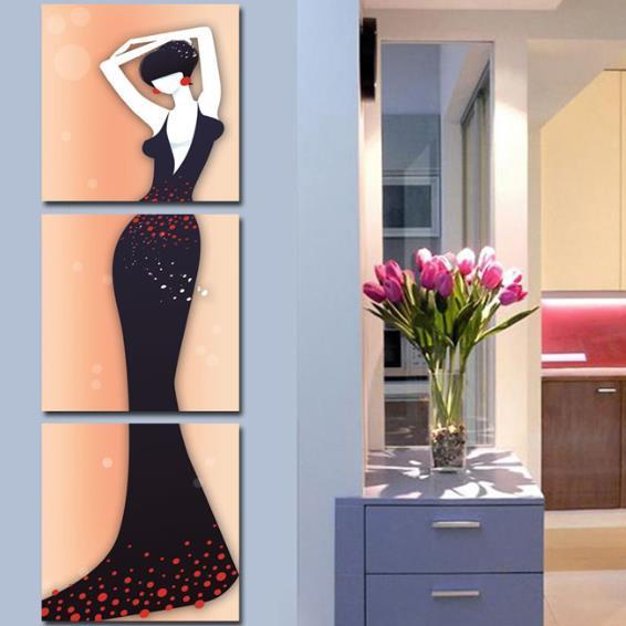 Elegant Lady in Dark Purple Dress Print 3-piece Cross Film Wall Art Prints
